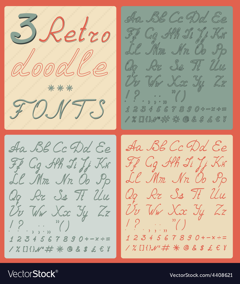 Set of three retro doodle fonts vector | Price: 1 Credit (USD $1)