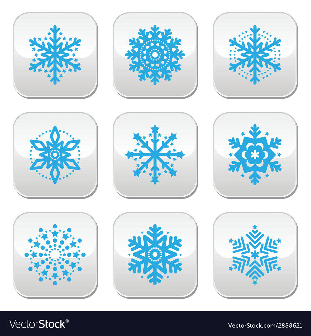 Snowflakes winter blue buttons set vector | Price: 1 Credit (USD $1)