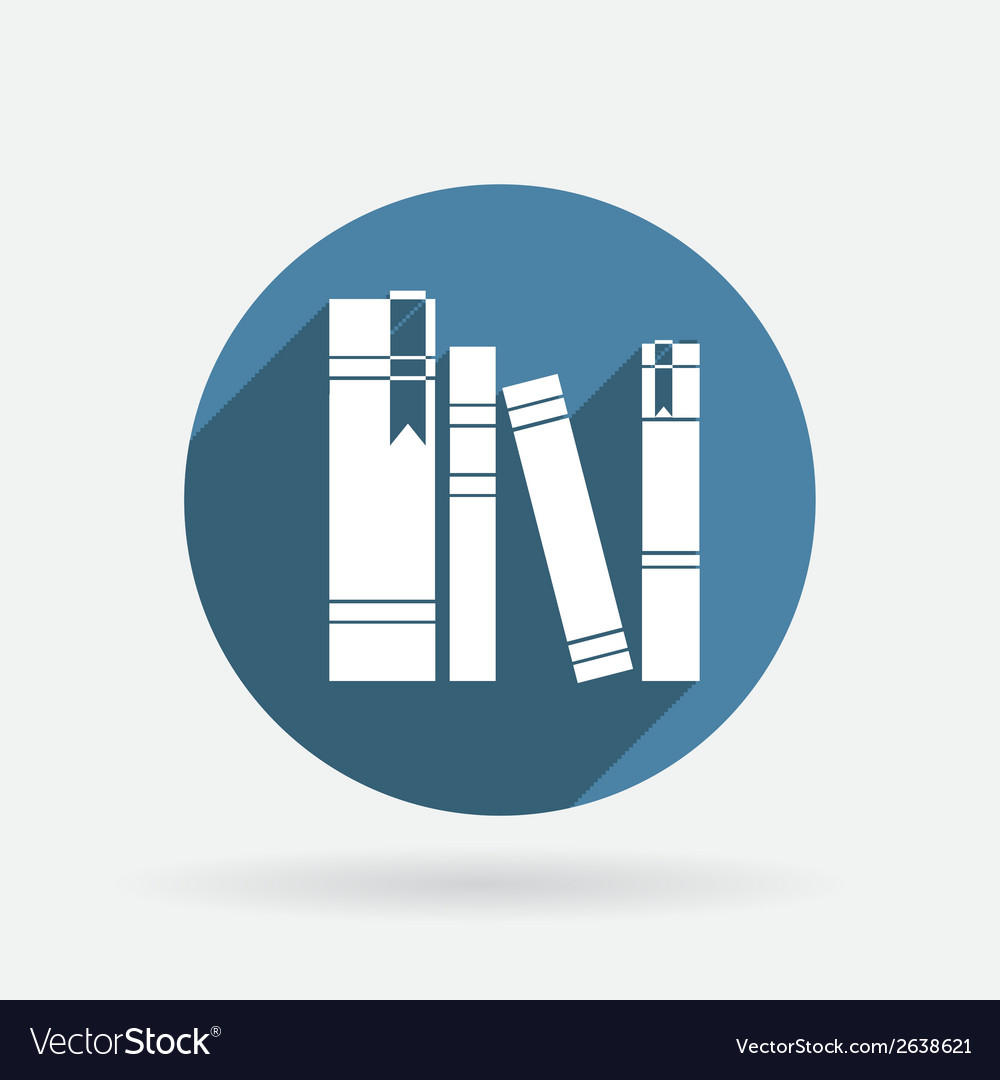 Spines of books circle blue icon with shadow vector | Price: 1 Credit (USD $1)