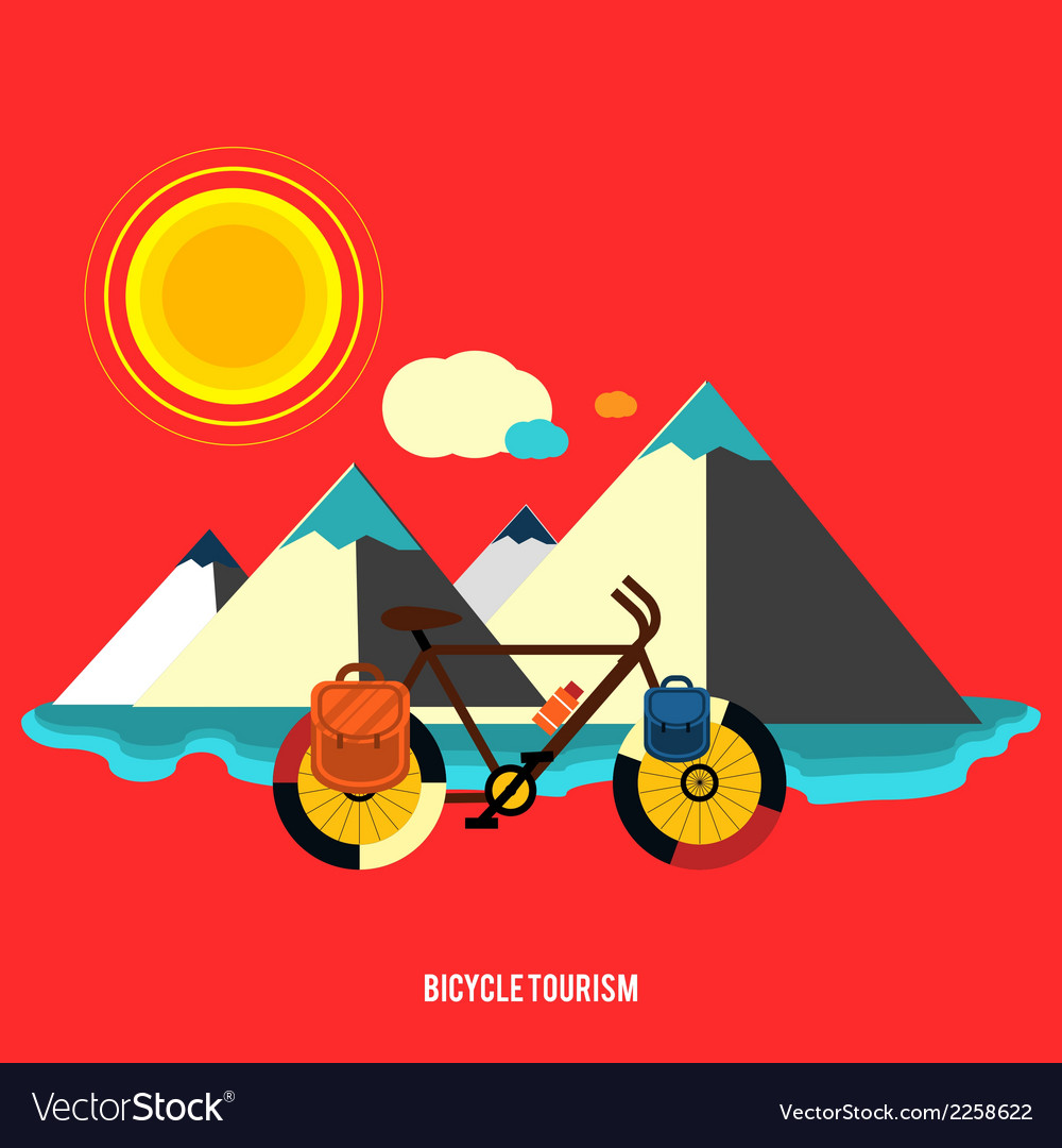 Bicycle near the mountain bicycle tourism vector | Price: 1 Credit (USD $1)