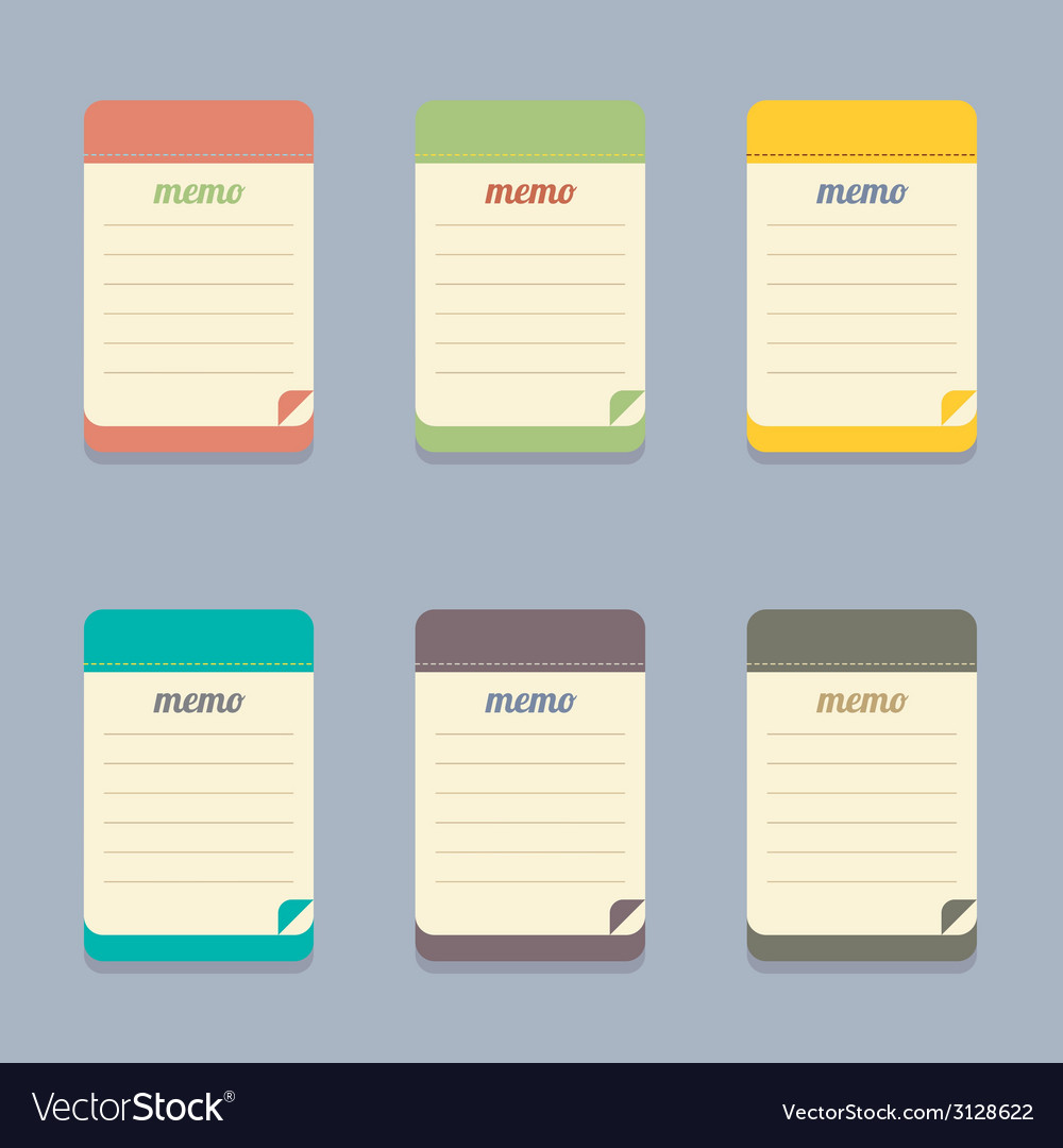 Flat design colorful memo vector | Price: 1 Credit (USD $1)