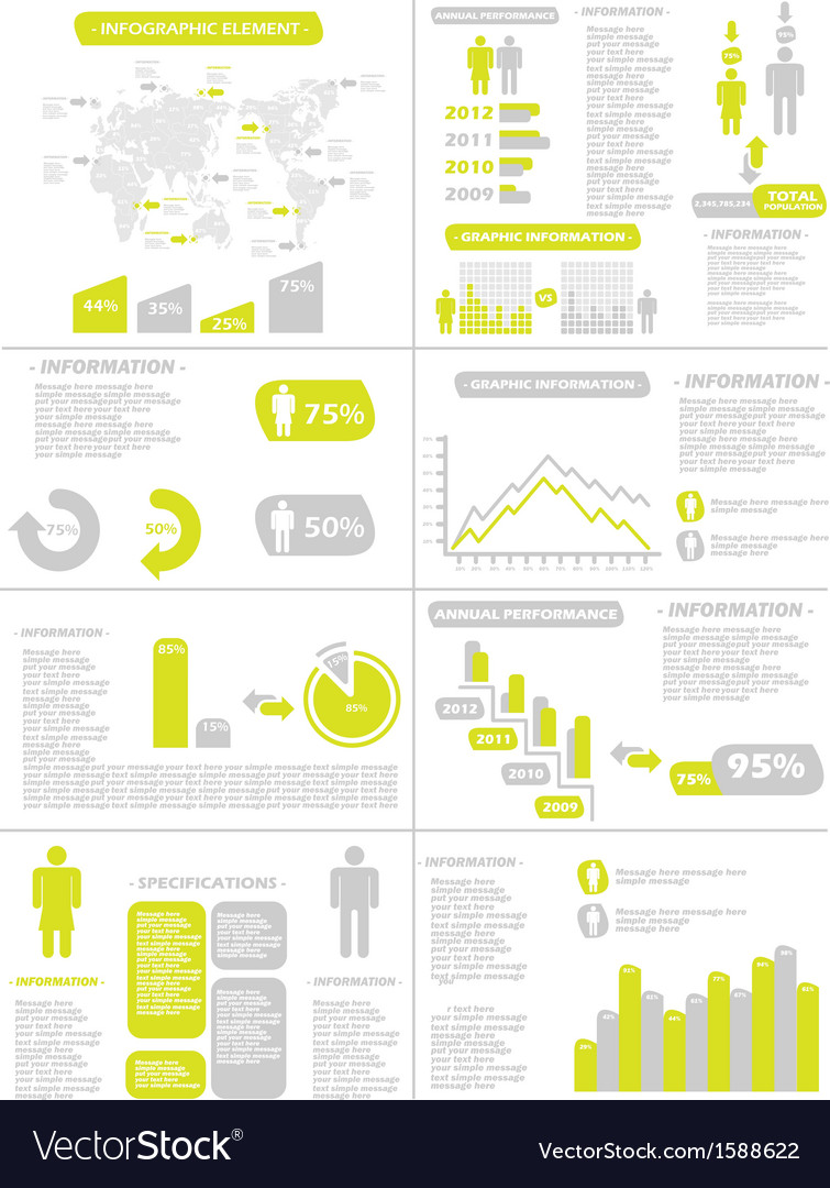 Infographic demographics new style yellow vector | Price: 1 Credit (USD $1)