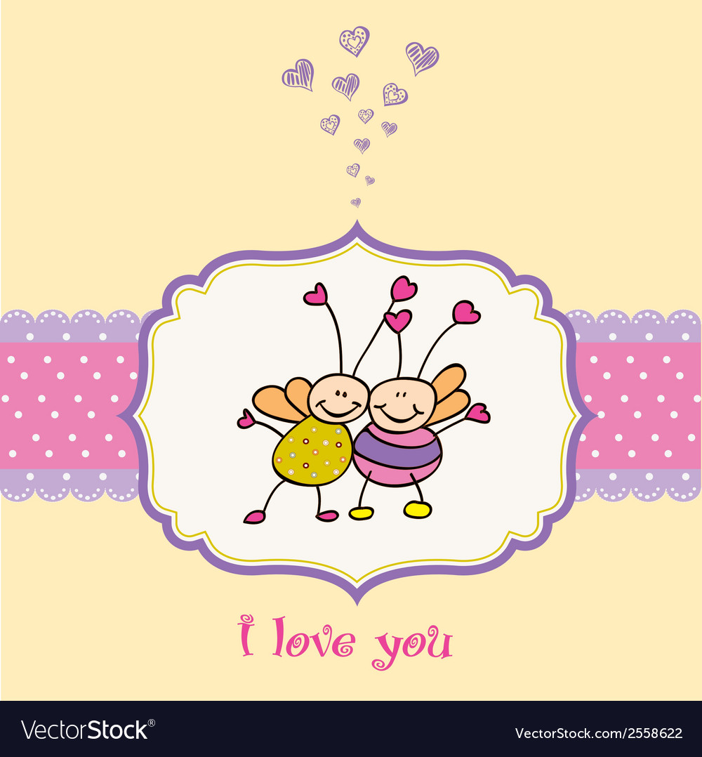 Love card with bees vector | Price: 1 Credit (USD $1)