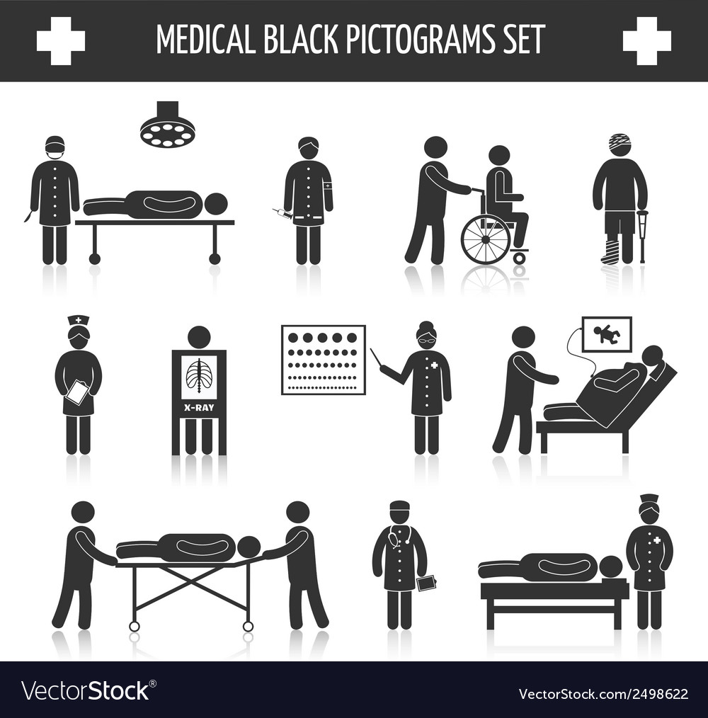Medical black pictograms set vector | Price: 1 Credit (USD $1)