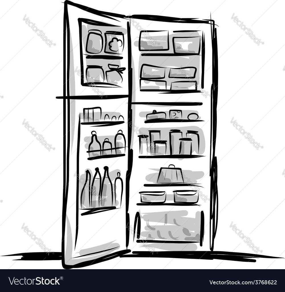 Opened fridge full of food sketch for your design vector | Price: 1 Credit (USD $1)