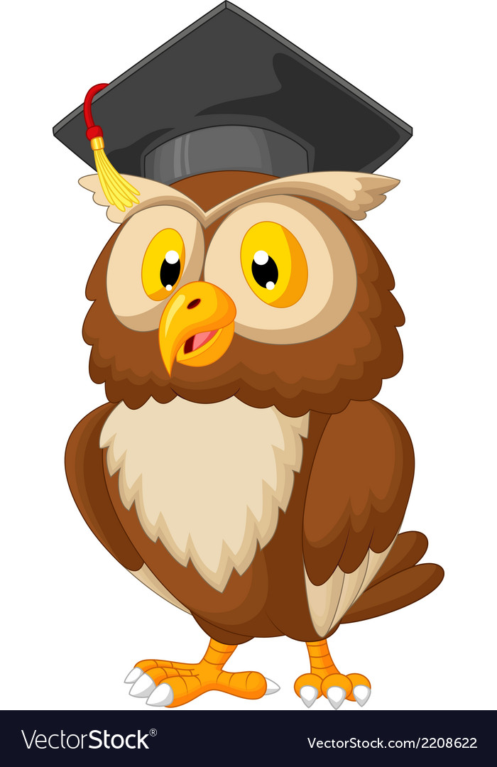 Owl cartoon wearing graduation cap vector | Price: 1 Credit (USD $1)