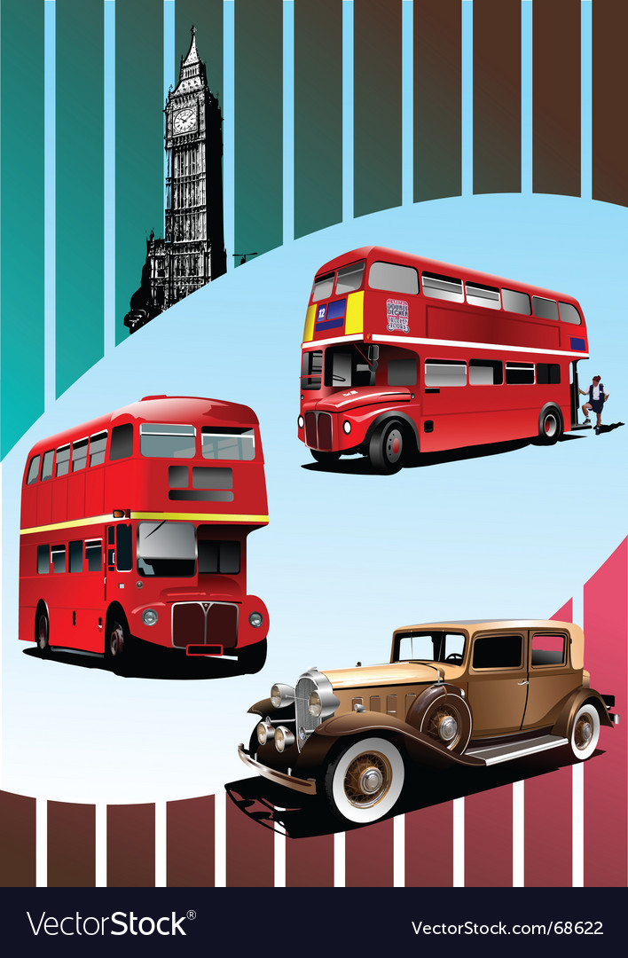 Retro car and buses vector | Price: 1 Credit (USD $1)