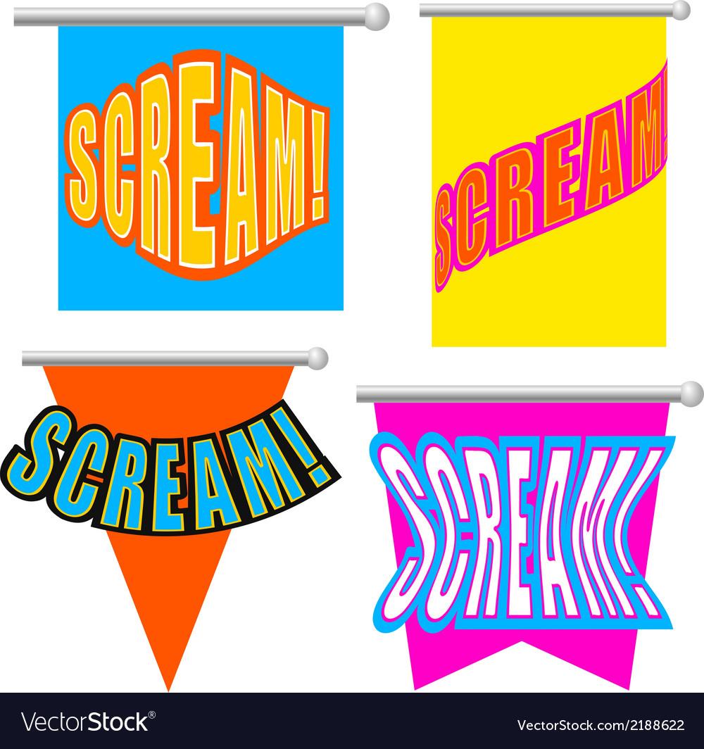 Set cartoon scream vector | Price: 1 Credit (USD $1)