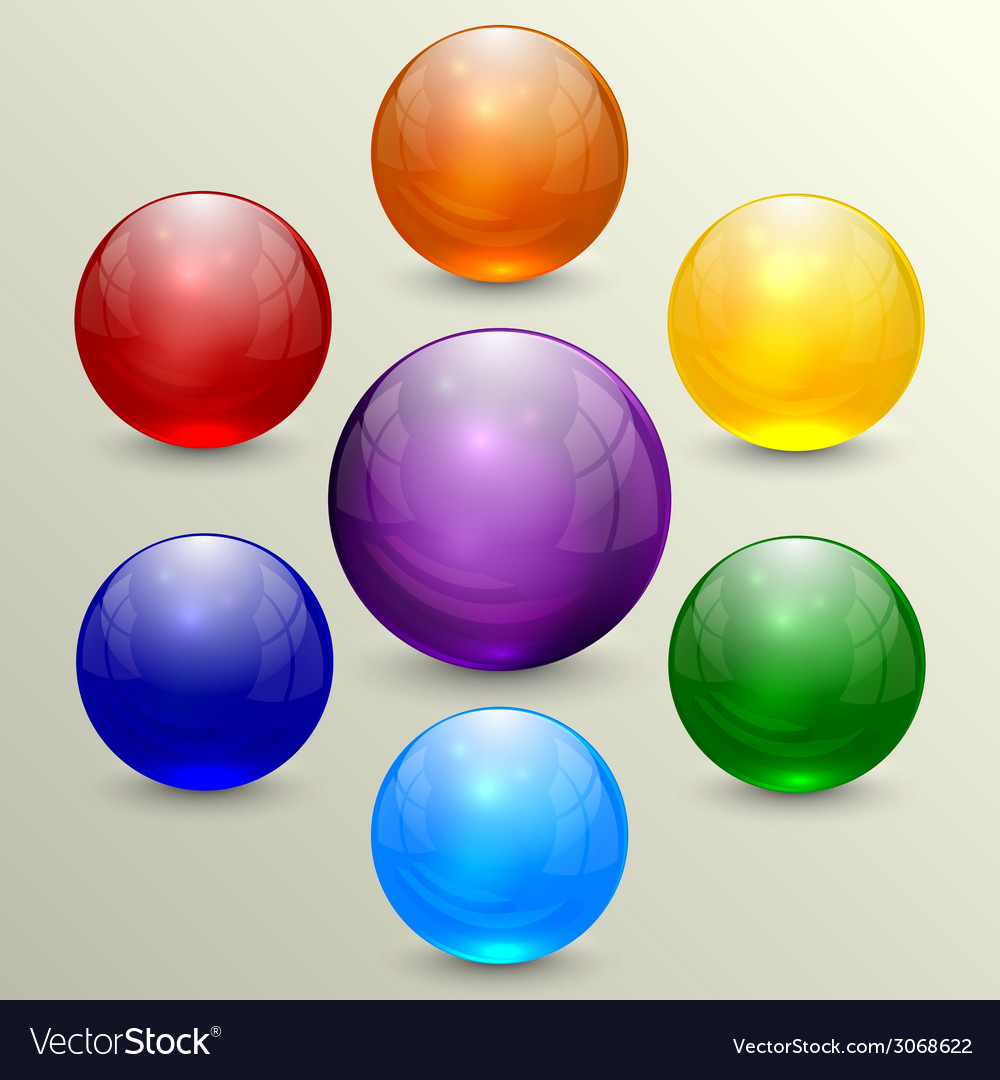 Set of colorful crystal globes vector | Price: 1 Credit (USD $1)