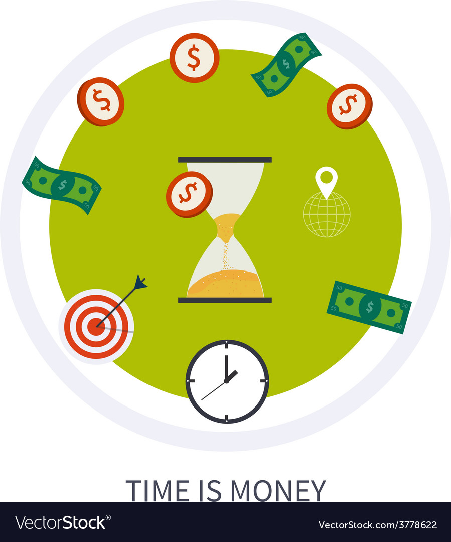Time is money business concept in modern flat vector | Price: 1 Credit (USD $1)