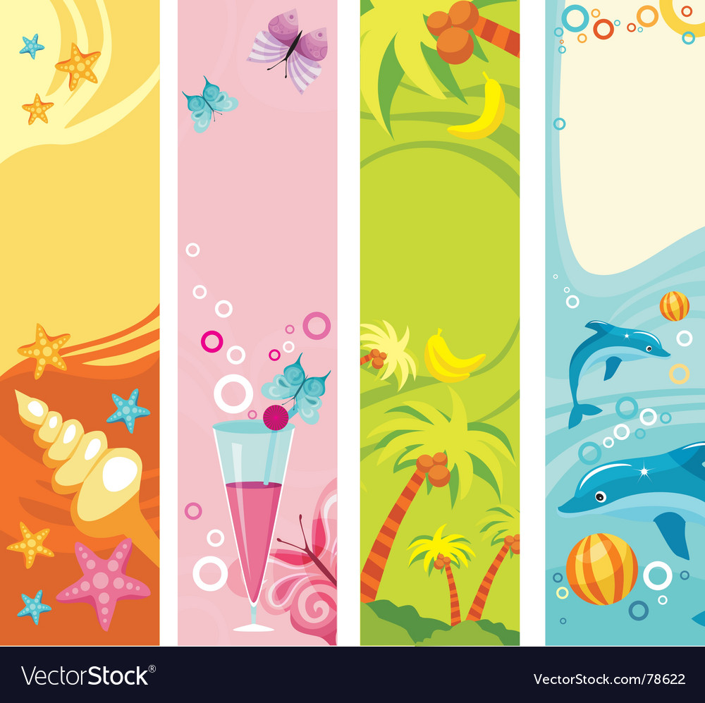 Tropical beach banners vector | Price: 1 Credit (USD $1)