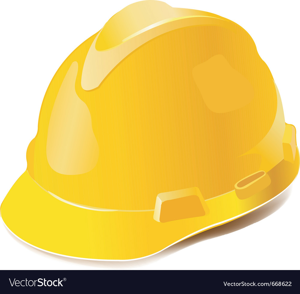 Yellow hard hat isolated on white vector | Price: 1 Credit (USD $1)