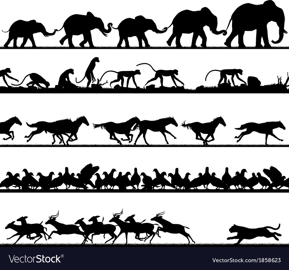 Animal foreground silhouettes vector | Price: 1 Credit (USD $1)