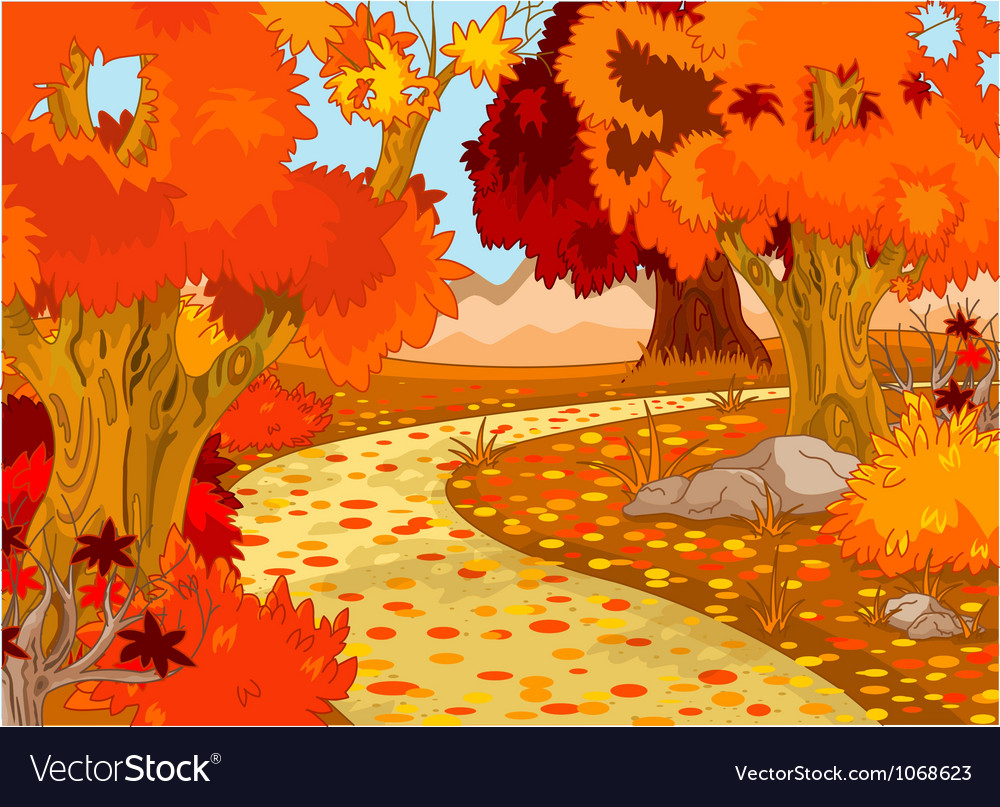 Autumn forest landscape vector | Price: 3 Credit (USD $3)