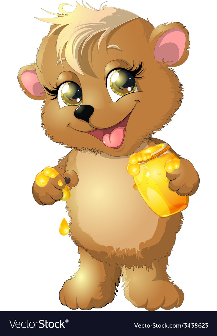 Bear eats honey vector | Price: 3 Credit (USD $3)