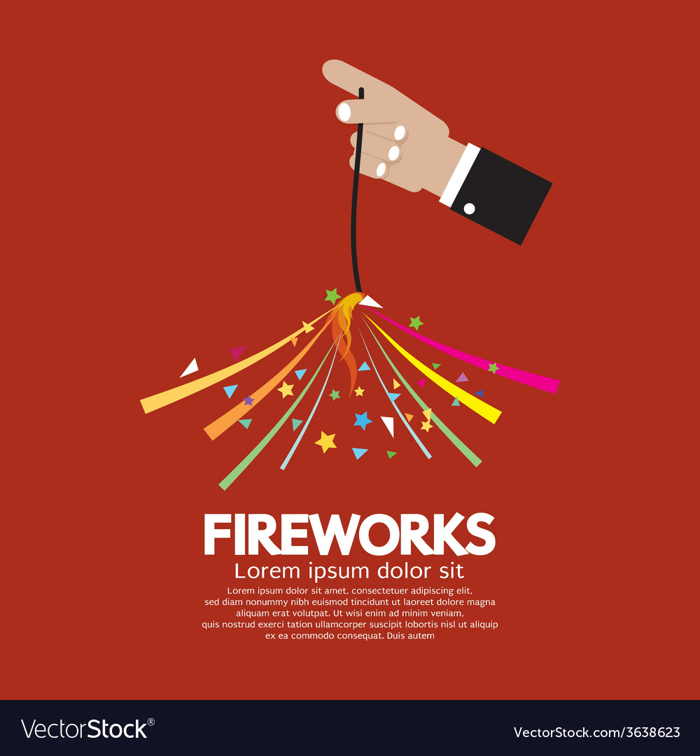 Burning sparkler firework in hand vector | Price: 1 Credit (USD $1)