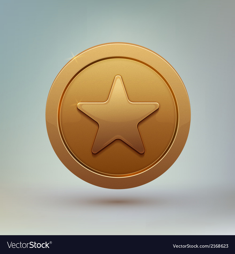 Coin with star isolated on gray background vector | Price: 1 Credit (USD $1)
