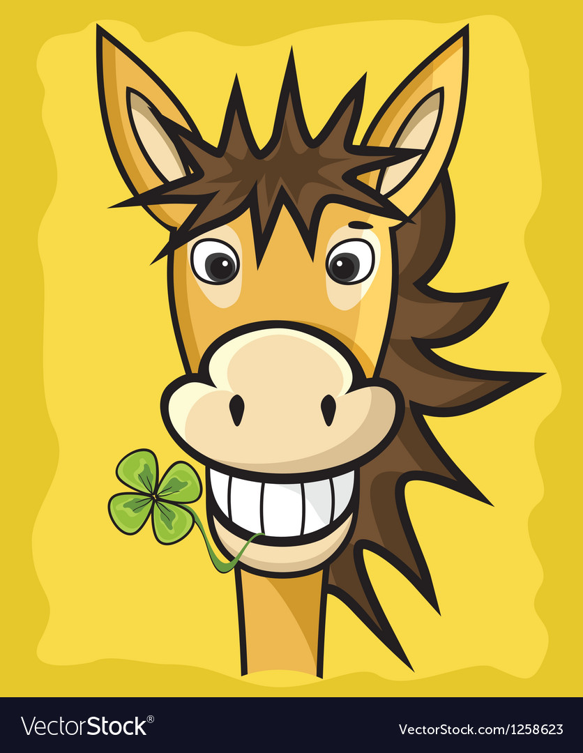 Donkey with clover vector | Price: 1 Credit (USD $1)