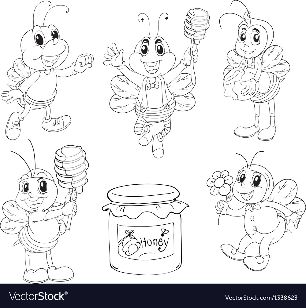 Doodle design of bees vector | Price: 1 Credit (USD $1)