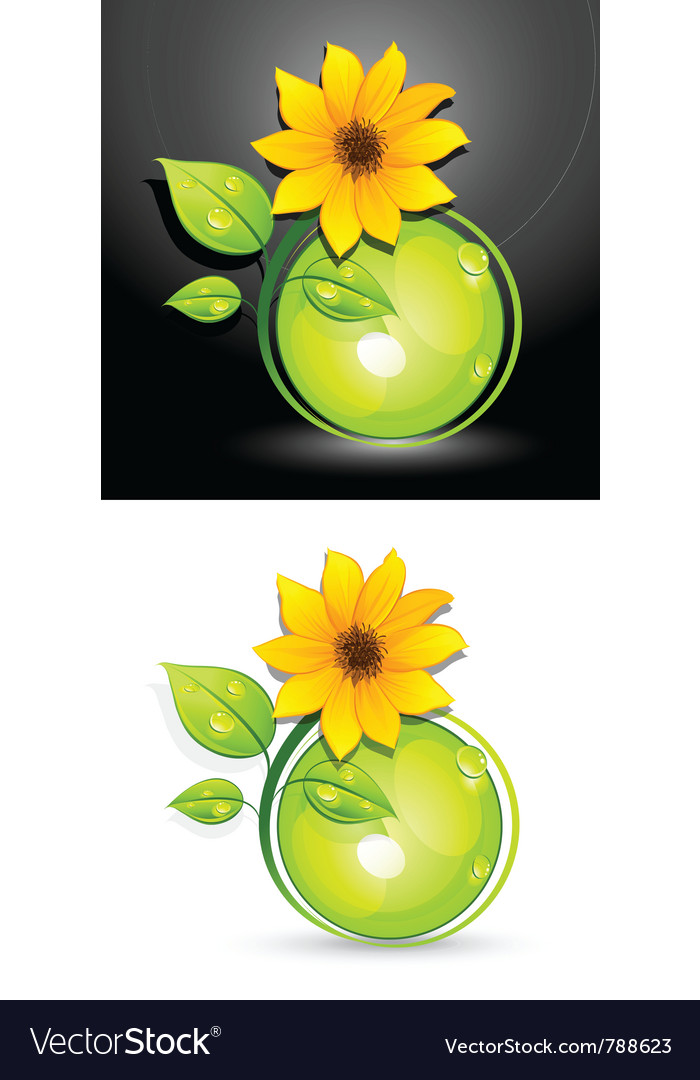 Eco sunflower buttons vector | Price: 3 Credit (USD $3)