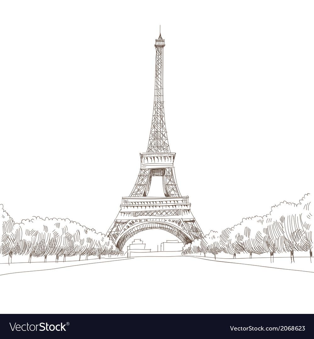 Eiffel tower hand drawn paris vector | Price: 1 Credit (USD $1)