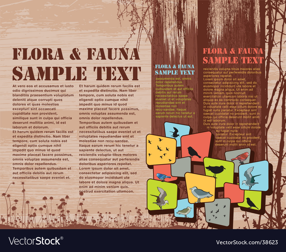 Flora and fauna page layout vector | Price: 3 Credit (USD $3)