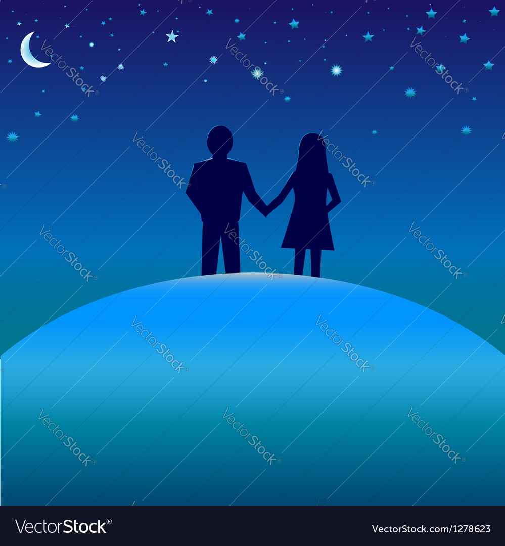 Happiness concept - boy and girl under night skies vector | Price: 1 Credit (USD $1)