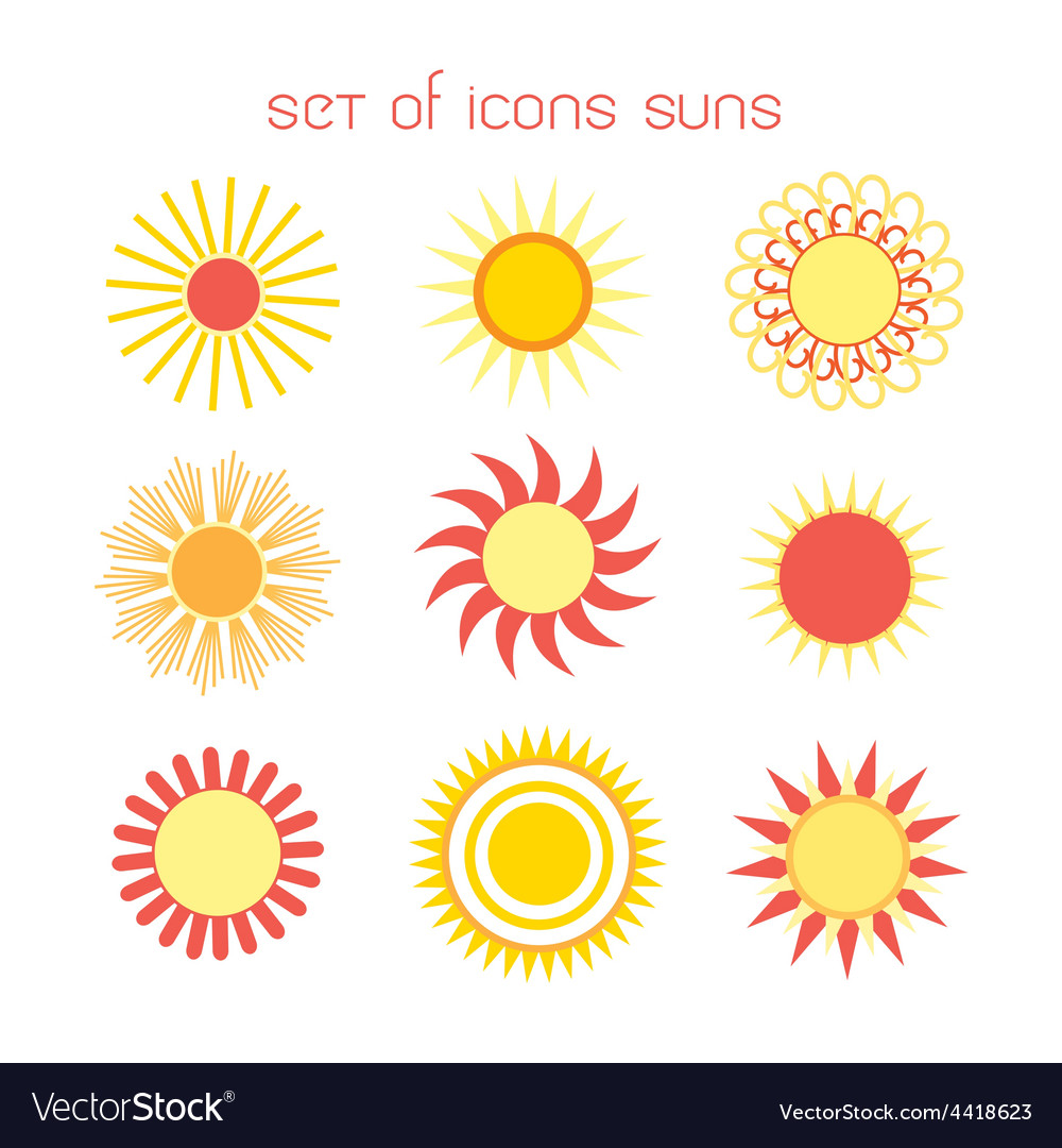 Icons suns vector | Price: 1 Credit (USD $1)