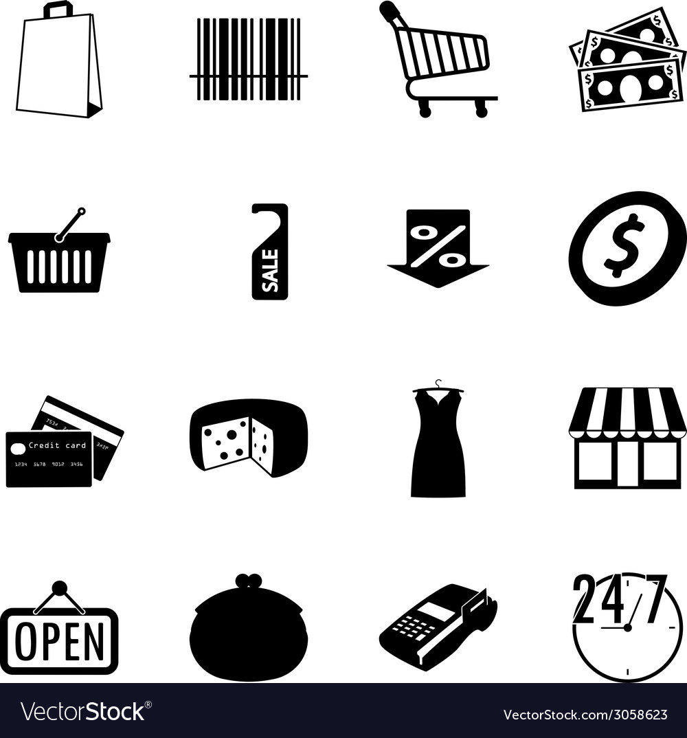 Market black and white flat icons set vector | Price: 1 Credit (USD $1)