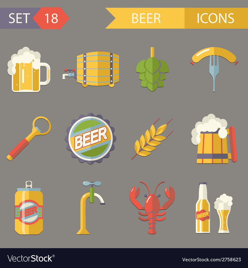 Retro beer alcohol symbols vector | Price: 1 Credit (USD $1)