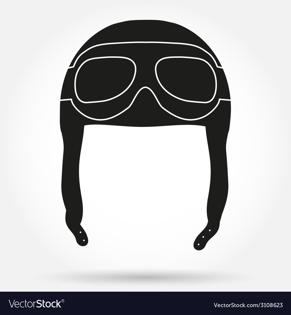Silhouette symbol ofretro aviator pilot helmet vector | Price: 1 Credit (USD $1)