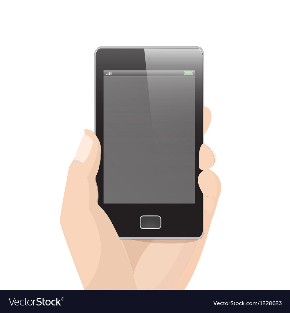 Vertical smart phone with hand holding vector | Price: 1 Credit (USD $1)