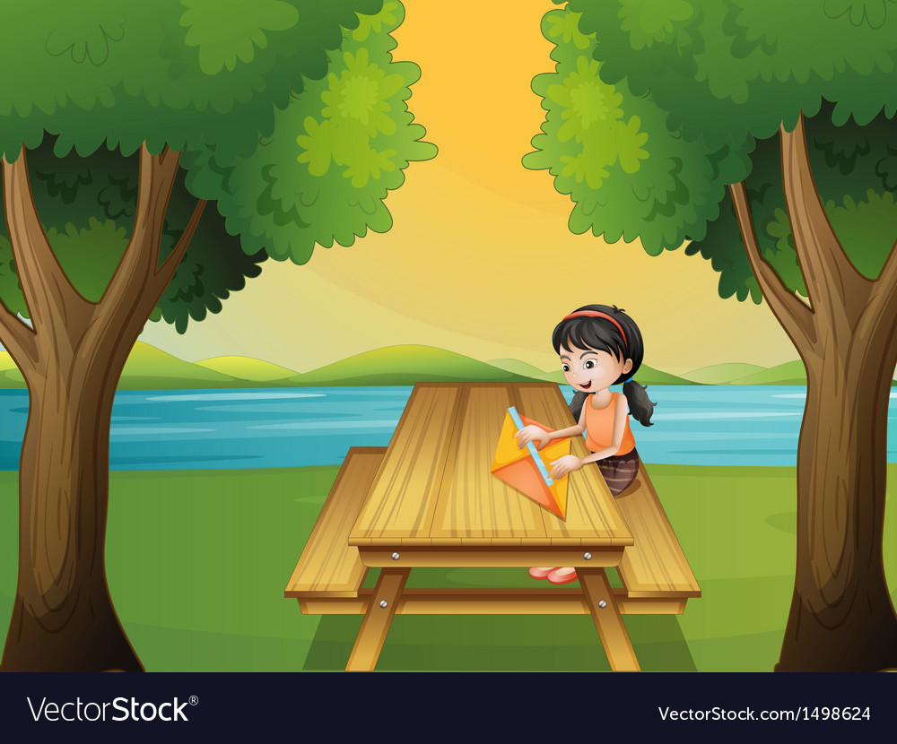 A girl making a kite at the table vector | Price: 1 Credit (USD $1)