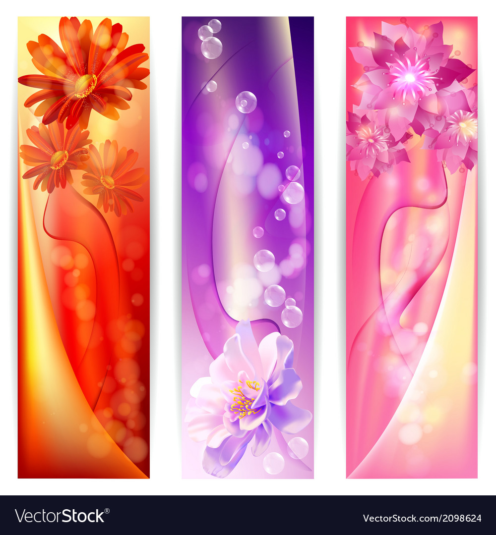 Beautiful abstract background with flowers banner vector | Price: 1 Credit (USD $1)