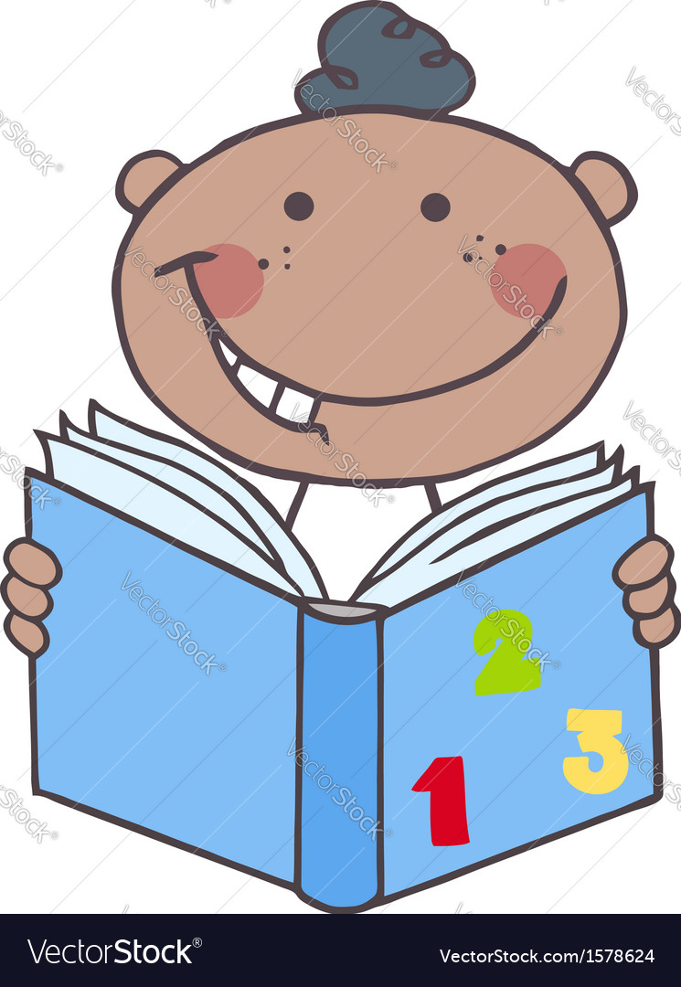 Child reading book cartoon vector   Price: 1 Credit (USD $1)