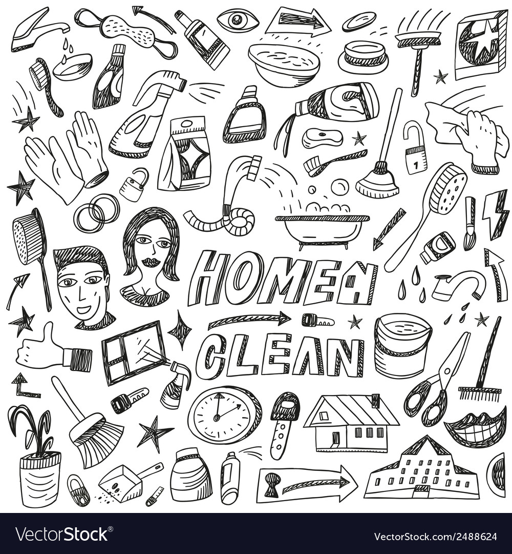 Clean home cleaning tools - doodles set vector | Price: 1 Credit (USD $1)
