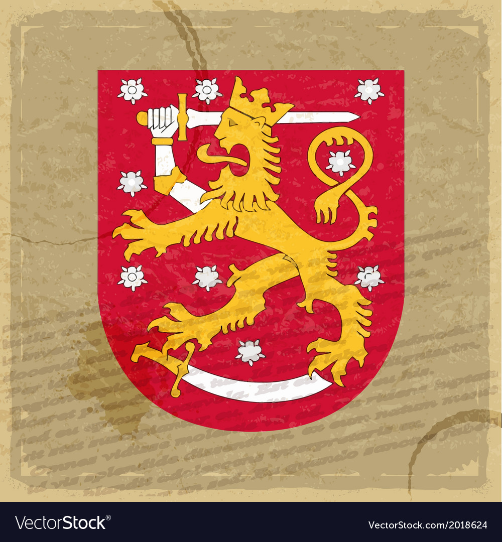 Finland coat of arms on an old sheet of paper vector | Price: 1 Credit (USD $1)