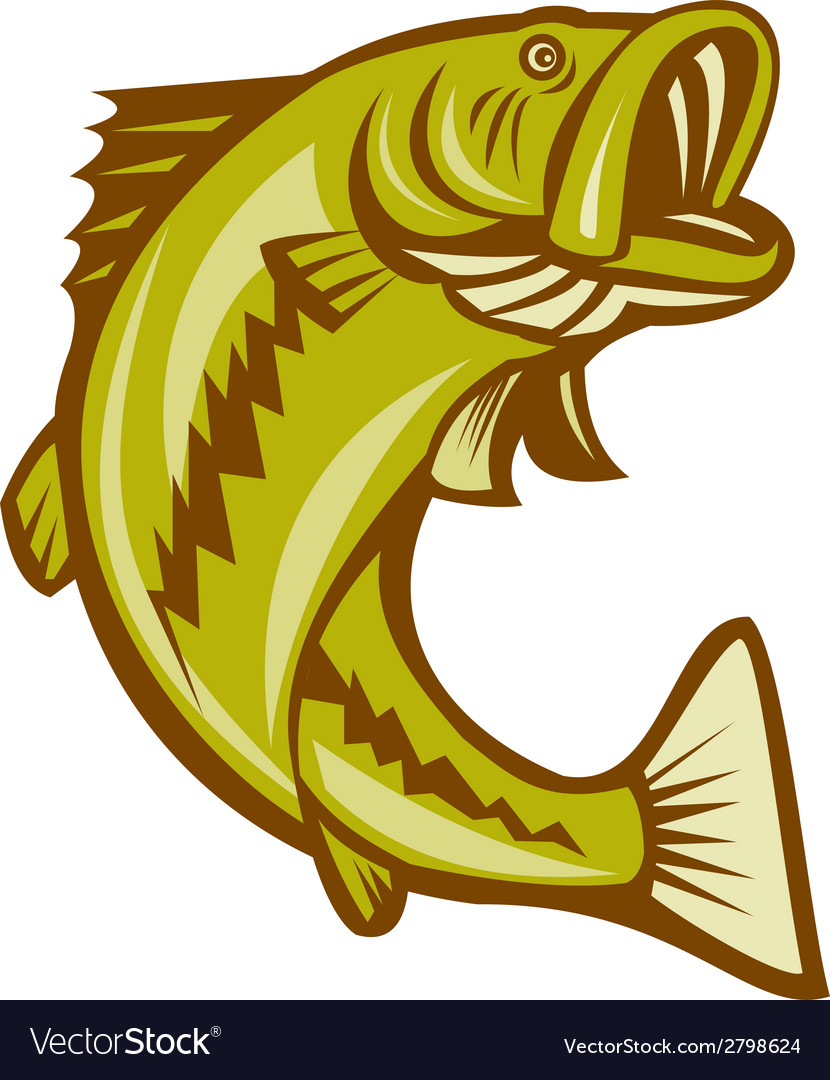 Largemouth bass jumping cartoon vector | Price: 1 Credit (USD $1)