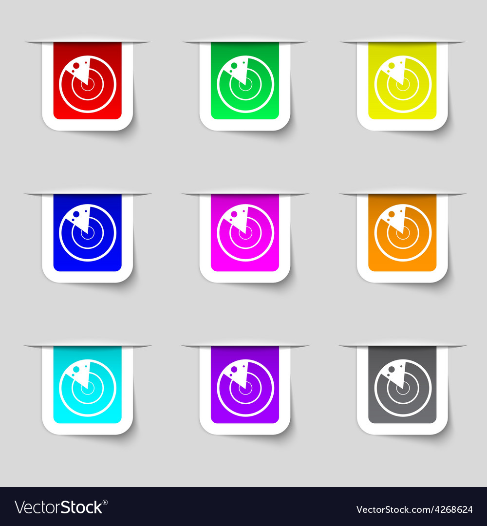 Radar icon sign set of multicolored modern labels vector | Price: 1 Credit (USD $1)