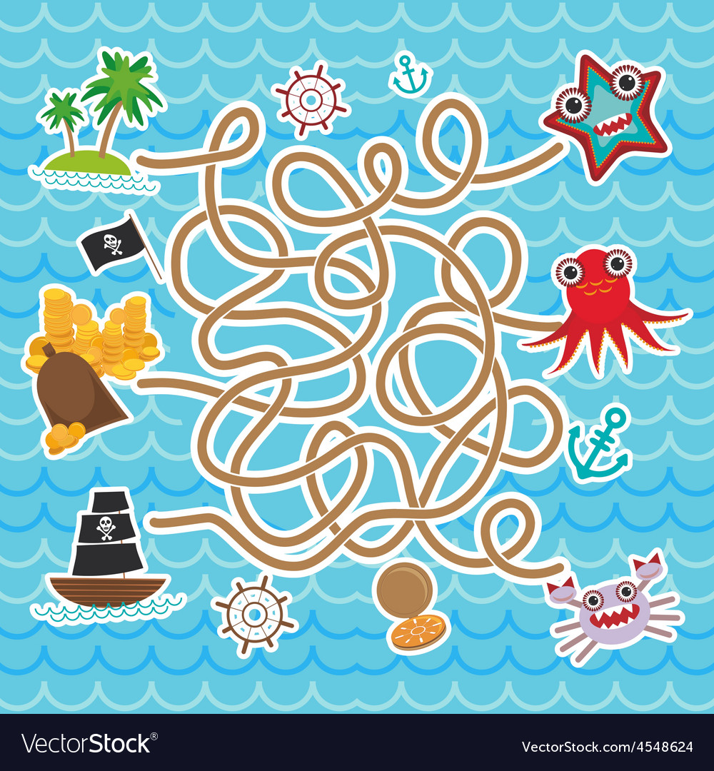 Sea animals boats pirates cute sea objects vector | Price: 1 Credit (USD $1)