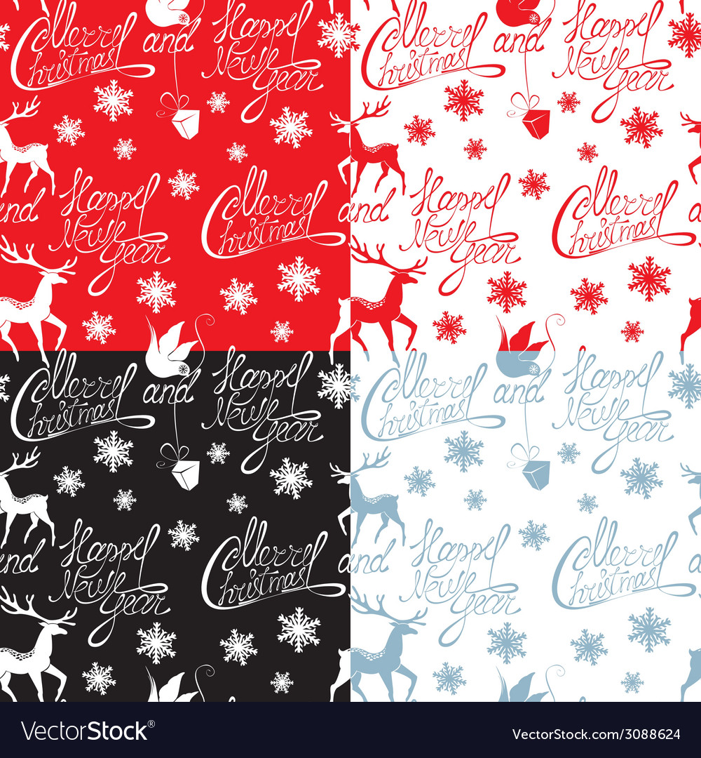 Seamless pattern with calligraphic text merry chri vector | Price: 1 Credit (USD $1)