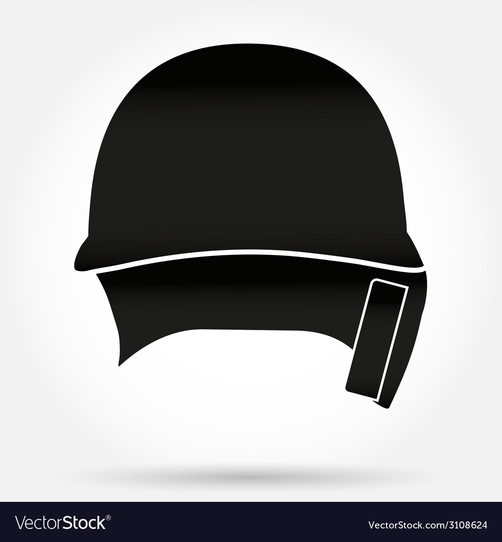 Silhouette symbol of classic baseball helmet front vector | Price: 1 Credit (USD $1)