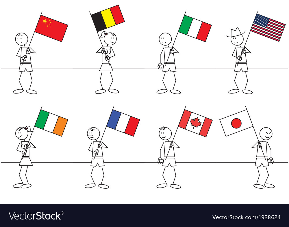 Stick figures flags vector | Price: 1 Credit (USD $1)