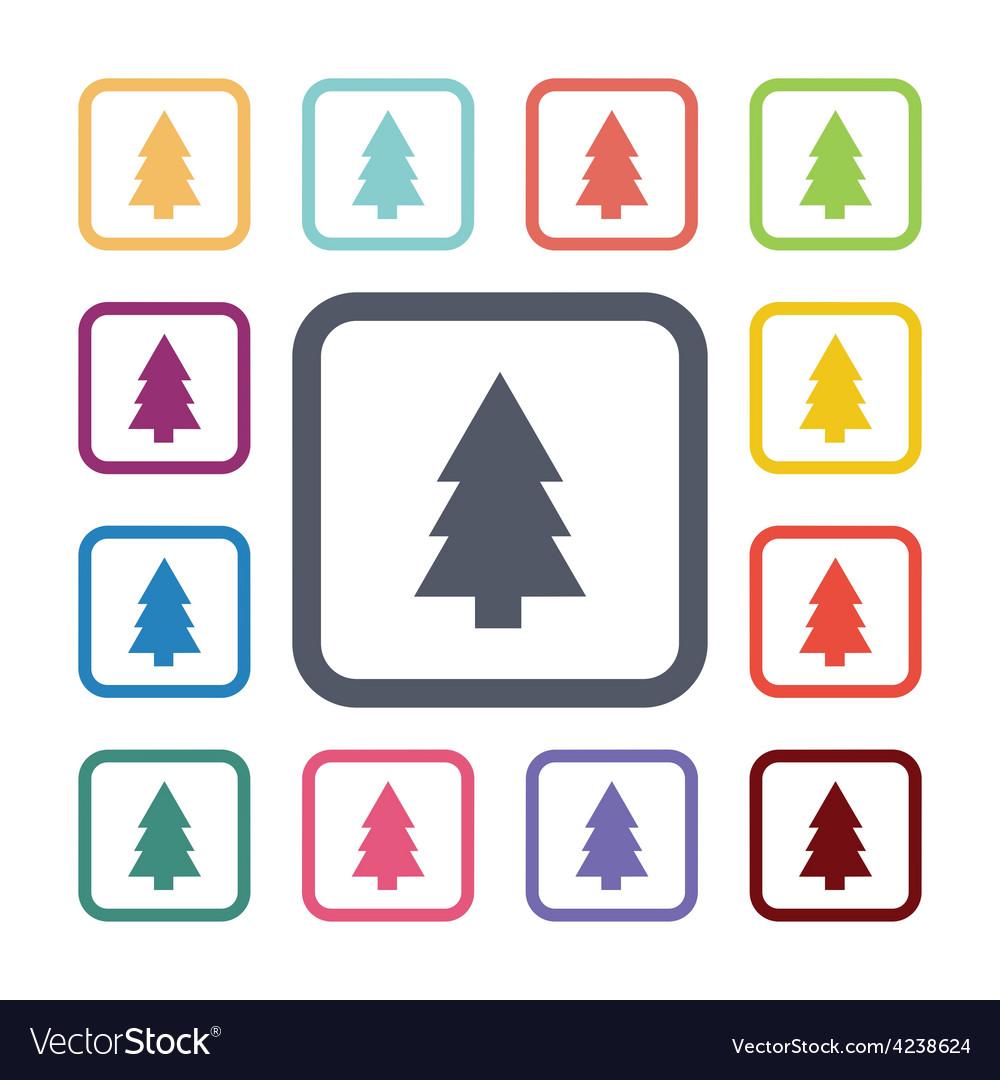 Tree flat icons set vector | Price: 1 Credit (USD $1)