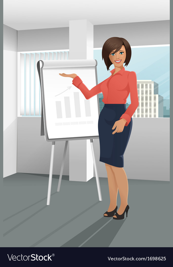 Businesswoman giving a presentation vector | Price: 1 Credit (USD $1)