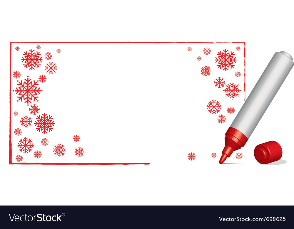 Copy spacecwith snowflakes and 3d red felt-tip pen vector | Price: 1 Credit (USD $1)