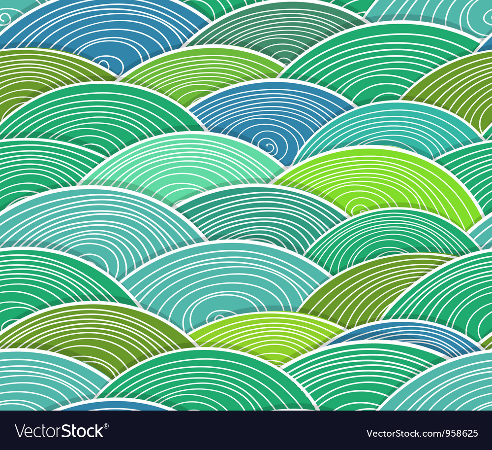 Curled abstract green waves vector | Price: 1 Credit (USD $1)