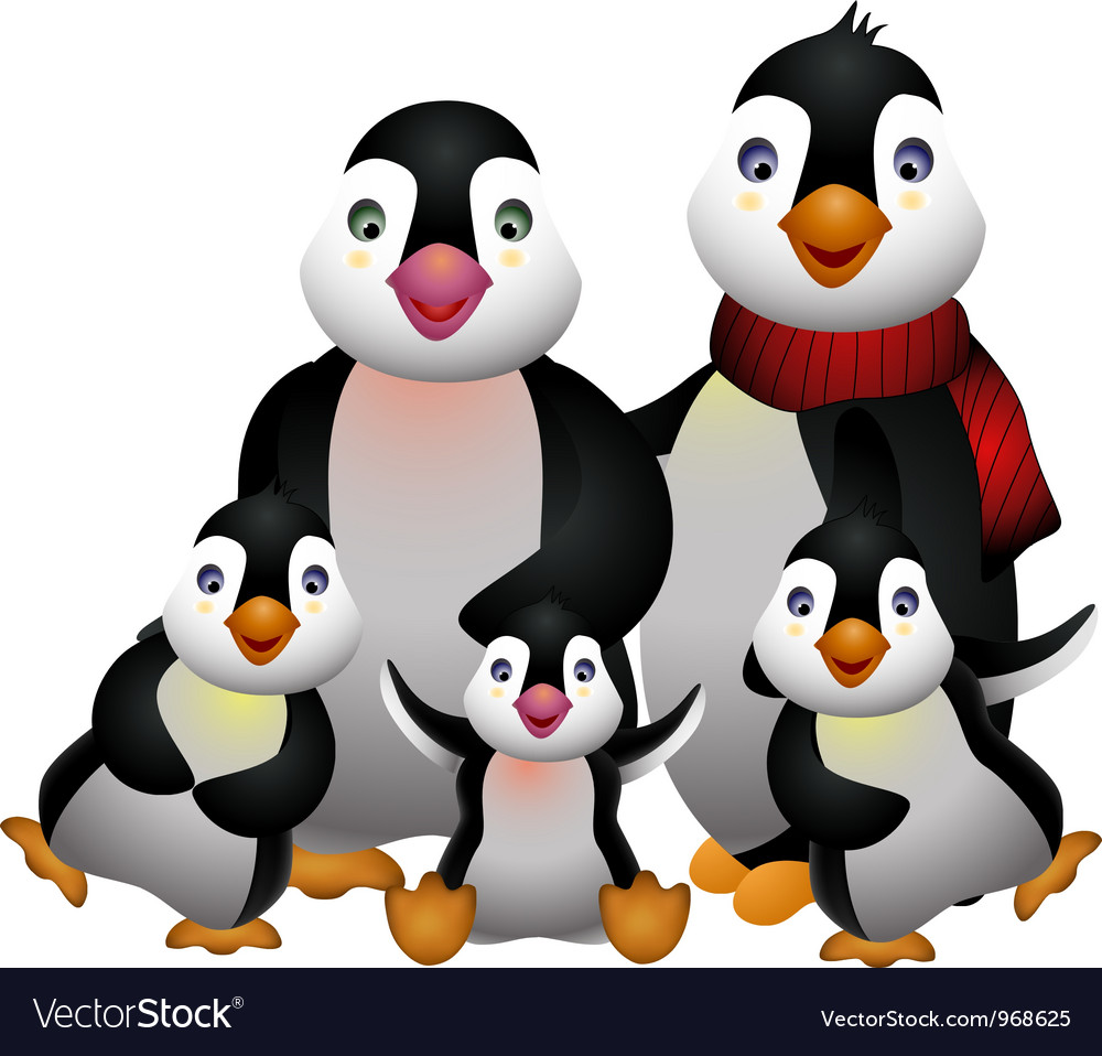 Happy penguin family vector | Price: 3 Credit (USD $3)