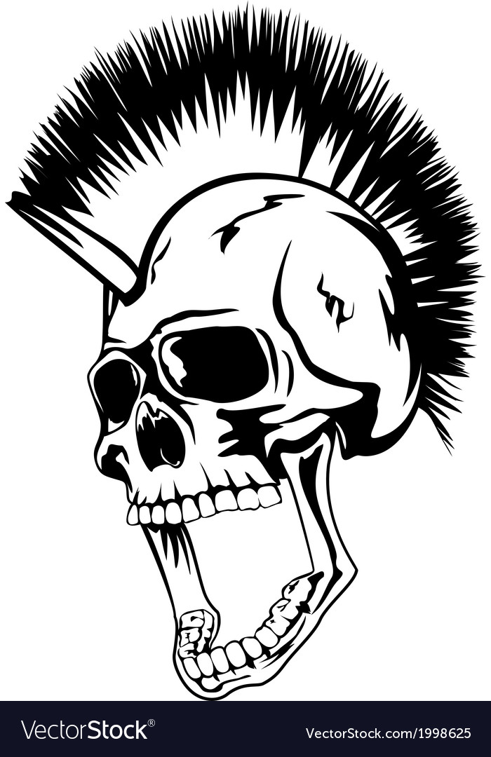 Head punk skull vector | Price: 1 Credit (USD $1)