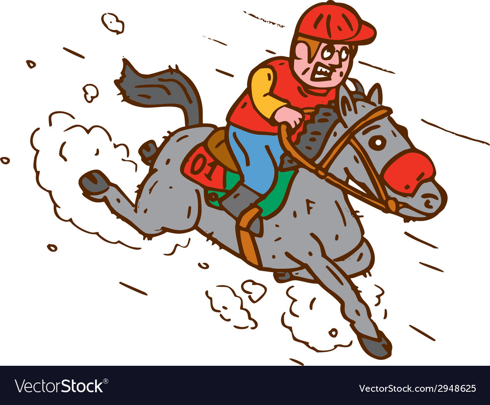 Jockey horse racing cartoon vector | Price: 1 Credit (USD $1)